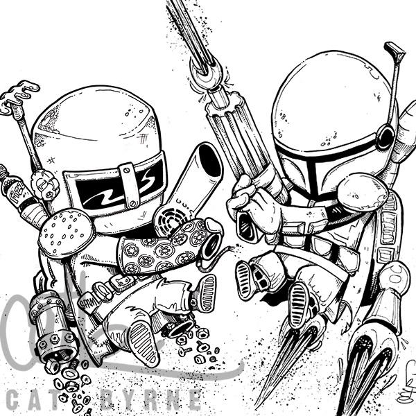 Boba Fett showdown! inks by Cat Byrne