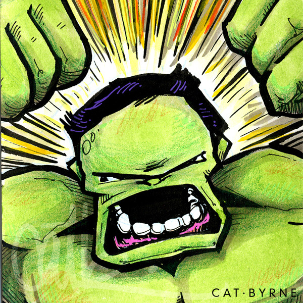The Incredible Hulk sketchcard by Cat Byrne