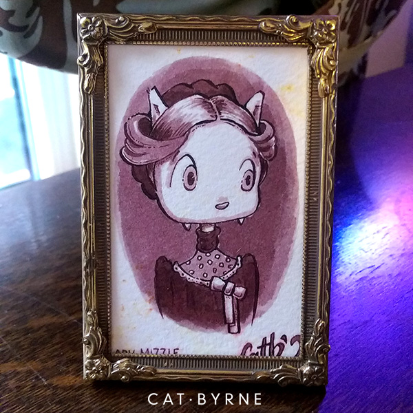 Lady Mizzle Victorian cat portrait for Inktober 2018 by Cat Byrne