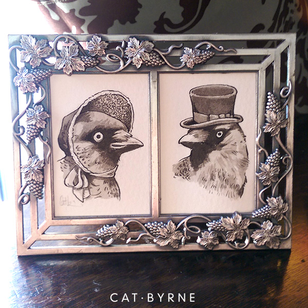 Victorian Jackdaws wearing hats - vintage portraits by Cat Byrne for Inktober 2018