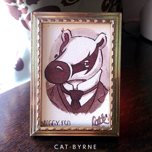 Muggy Esquire Victorian badger portrait by Cat Byrne for Inktober Mizzle Comic