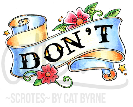 DON'T scroll banner american traditional tatto art Black Books art by Cat Byrne