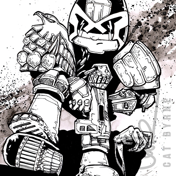 Judge Dredd commission by Cat Byrne in the style of Carlos Ezquerra