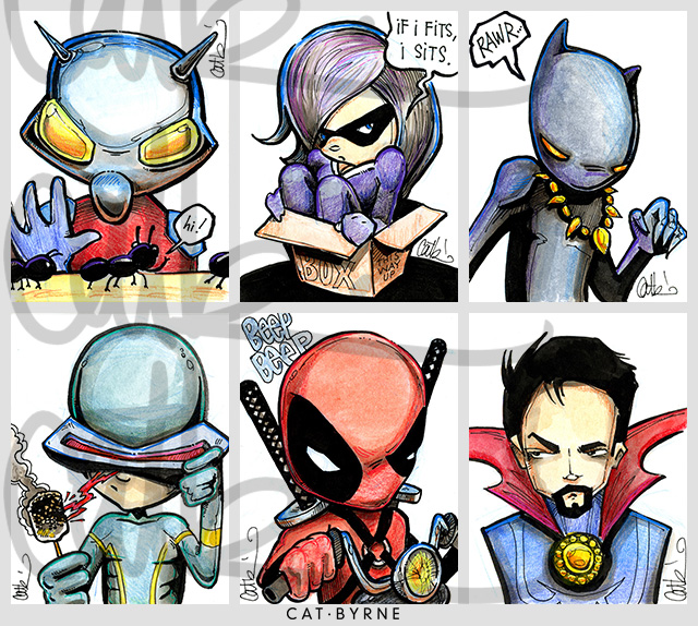 Mini Marvels sketchcards by Cat Byrne: Ant Man, Black Cat, Black Panther, Cyclops, Deadpool, Doctor Strange