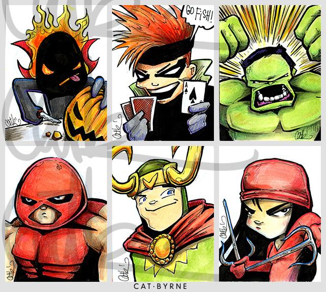 Mini Marvels sketchcards by Cat Byrne: Dormammu, Gambit, Hulk, Juggernaut, Loki, Elektra