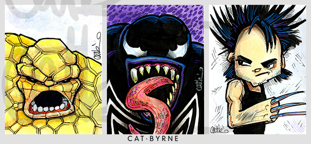 Mini Marvels sketchcards by Cat Byrne: The Thing, Venom, Wolverine