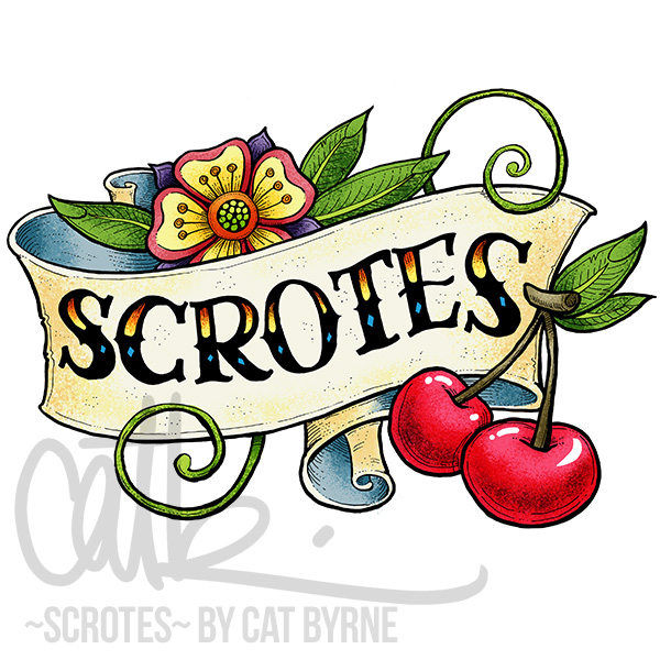 Scrotes logo tattoo art by Cat Byrne