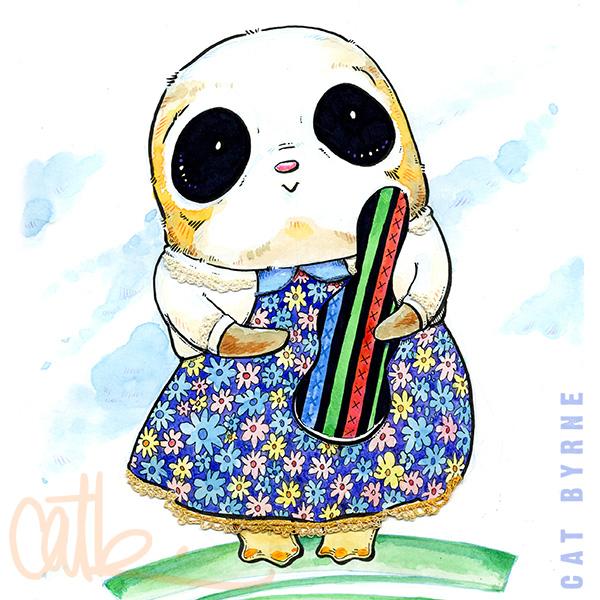 Star Wars Porg illustration with crochet art by Cat Byrne