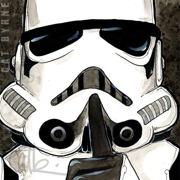 Stormtrooper see no evil hear no evil speak no evil commission comic art by cat byrne