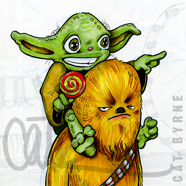 Chewbacca and Yoda go the the fair - comic art commission by Cat Byrne