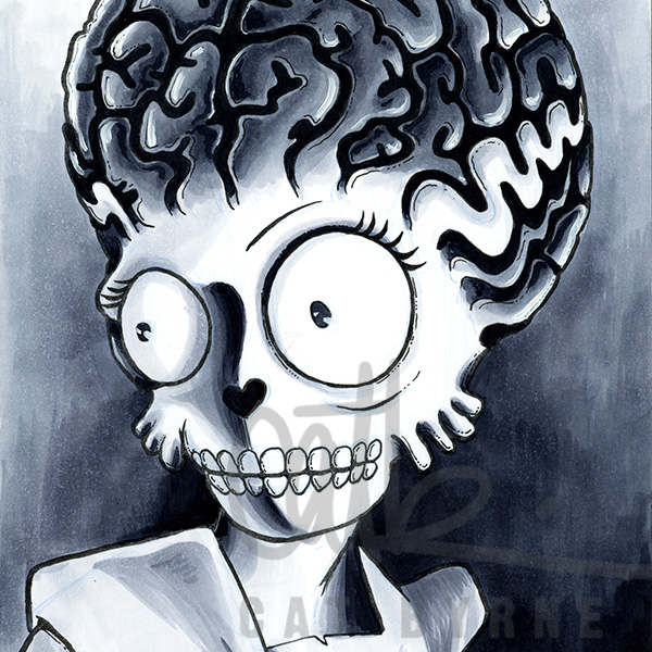Bride of Frankenstein Elsa Lanchester 1935 Mars Attacks crossover by Cat Byrne