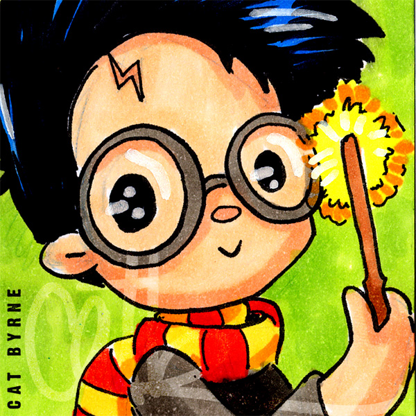 Harry Potter chibi sketch card atc by Cat Byrne