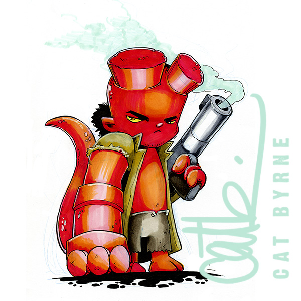 Chibi Hellboy commission by Cat Byrne Art