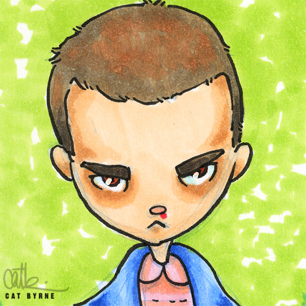 Eleven sketch card stranger Things atc by cat byrne